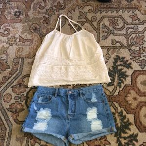 FOREVER 21 high waisted blue jean shorts